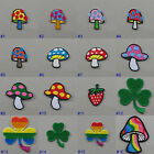Mini Magic Mushroom Iron On/ Sew Patch Badge Toadstool Strawberry Shamrock Hippy