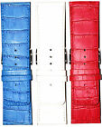 Alfa Leather Watch Band Strap 26mm 30mm Wide Alligator Grain Red White Blue