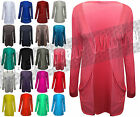 Ladies Womens Open Cardigan Plain Stretch Fit Long Sleeve Cardi Pocket Jumper
