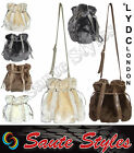 HOT Ladies LYDC Fur Hobo Bucket Bag Drawstring Shoulder Messenger Handbag Black