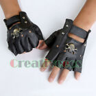 New Leather Skull Punk Hip-hop Cycling Motorcycle Car Sports Gloves Fingerless
