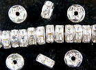WHOLESALE  x  RONDELLE SILVER PLATED CLEAR  RHINESTONE SPACER BEADS, 7 MM