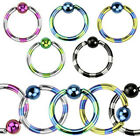 Titanium Anodized Over 316L Surgical Steel Duo-Tone Striped Captive Bead Ring