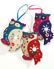 Fair Trade FELT OWL Christmas Decorations with Sequins and Blanket Stitch