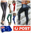 Low-Rise Leather Look Stretch Sexy Leggings Tights pants  SZ S-L/AU6-14 P131