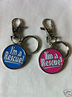 I'm A Rescue Engraveable Dog Collar ID Tag Charm - Choice of Blue or Pink Enamel