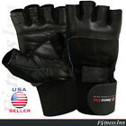 Weight Lifting Gloves Gym Body Building Fitness Training Gloves Long Wrist BLACK