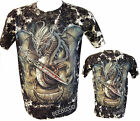 New Chinese Dragon Glow in the Dark Gothic Sword Skull Tattoo Tye Dye T-Shirt