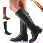 LADIES FLAT RIDER BIKER STYLE FAUX LEATHER WIDE CALF HIGH LEG KNEE BOOTS STRETCH