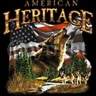 AMERICAN HERITAGE WITH WOLF -  T-Shirt - New - Sizes S - 4X (Men's Sizes)