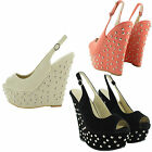 LADIES PEEP TOE WEDGE HIGH HEELS SLINGBACK WOMENS STUDDED PARTY SHOES UK SIZES