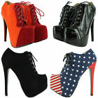 SEXY NEW LADIES STILETTO HIGH HEELS ANKLE BOOTS LACE UP PLATFORM SHOES UK SIZES