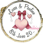 PERSONALISED WEDDING DAY PINK HEART & BOW MINT CHOCOLATES FAVOURS SWEETS WDMC 27