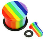 2X All UV Rainbow Pride Single Flared Top Hat Plug with O-Ring