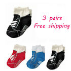 3 pairs new kids toddler boy sneakers socks 12-24 months S48