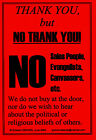 3 x No Cold Religious Callers Signs from the UK (soliciting,  salesmen) Laminated