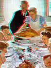 Freedom from Want Thanksgiving Norman Rockwell Saturday Evening Post 3D Anaglyph
