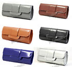 GREY BLACK BLUE BROWN SILVER Patent Leather Retro Clutch Evening Bag #749