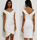 Plus Size Bandage Bodycon Wedding  Evening Pleated Dress Ivory White New 14 - 20