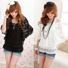 FREE SHIP Sexy 2-Piece set Ladies Lace Off Shoulder Tops + Tank Top  T-Shirts