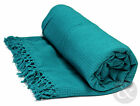Honeycomb 100% Cotton Throws - Teal Blue Large Bedspread Thermal Throw Over