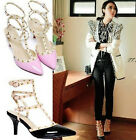 Fashion Lady's Punk Point Toe Metal Studded Ankle Strap Heels Sandals Flip Flops