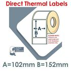 102mm x 152mm WHITE Direct Thermal Labels 250 per roll for Zebra type printer