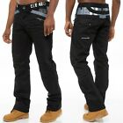 New Mens Black Grey ENZO Denim Jeans Designer Regular Fit Straight Leg Big Sizes