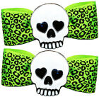 SOURPUSS -  ENAMEL SKULL LEOPARD BOW, BOWS, HAIR CLIPS, SLIDES, BARRETTES