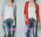 New Woman Girl Candy Color Casual Simple Long Sleeve Knit Thin Coat Jacket