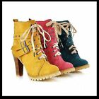 NEW Women's Ankle Boots Thick High Heel Shoes Punk Lace Buckle AU All Size Y824