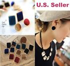 Beautiful Velvet Velour Gold Trim Fashion Vintage Urban Square Round Earrings