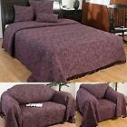 Purple Handwoven Large Throw Bedspread Sofa Bed Blanket Cotton Filled Cushions