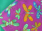 BUTTERFLIES bright fun PURPLE 100% COTTON FABRIC for dress craft bunting