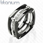 Men's solid titanium ring with IP Black and CZ Stones wedding band