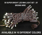 25 Foot LED Mini Light Outdoor String Light Set - 50 Light - Brown Wire