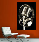 Canvas Giclee Home Wall Art Microphone Headset Photo Colorful Print Decor 1 2
