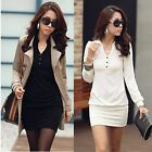 Fashion Womens Graceful solid color long sleeve lapel T-shirt Mini Dress Tops