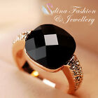 18K Rose Gold Plated Made With Swarovski Crystal Stylish Black Agate Ring