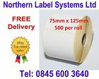 75mm x 125mm WHITE Direct Thermal Labels for Zebra, Citizen, Toshiba etc