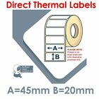 45mm x 20mm WHITE Direct Thermal Labels for Zebra, Citizen, Toshiba etc