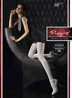 Fiore Amia 60 Denier Side Patterned Microfibre Tights S/M/L - Blk - Chocolate