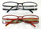 Wide Head Reading Glasses Red & Black Metal Stripe Optical Quality Frame Unisex