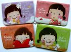 Happy Girl Small Business Name Bank Credit Card Holder Case 4 Colors Choosing