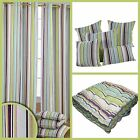 Osaka Green Stripes Eyelet Curtains Pair & Filled Cushions Covers Large Small