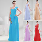 Elegant One shoulder Chiffon Bridesmaid Evening Prom Party Long Ball Gown Dress