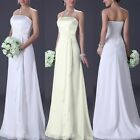 Elegant Bridal Brides Wedding Dress Floor Length Chiffon Strapless Formal Dress