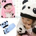 V1NF Toddler Baby Girl Boy Cap Cute Panda Kids Hat + Scarf Set Keep Warm