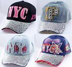 New York City NYC Rhinestone Baseball Cap Curved Snapback Adjustable Hat