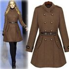 Women's Double Breasted Wool Coat Belted Long Trench Coat Long Jacket Overcoat